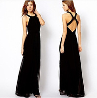 Haoduoyi  European and American Fan Slim thin cross halter chiffon dress long section of mopping the floor