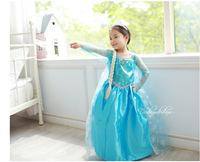 Fashion Summer Baby Girl Child Kid Party Long  Sleeve Snow Frozen Princess Elsa Cosplay Formal Fantasia Dress H0140703