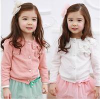 Retail autumn baby girl cardigan jacket pink white long sleeve bow bearded cardigan jacket girls cardigan jacket children jacket