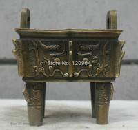 Chinese China Folk Culture Handmade Old Brass Bronze Statue Fangding Sculpture Tibetan crafts gift Copper Bronze Statue