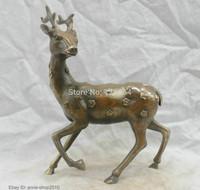 Chinese China Folk Culture Handmade Brass Bronze Statue Lucky Deer Sculpture Tibetan crafts gift Copper Bronze Statue