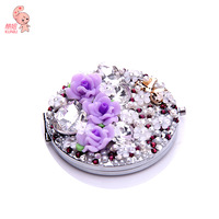 Purple roses blooming fashion double face folding makeup mirror for cute beautiful woman D103101