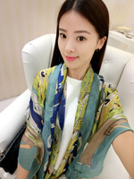 Trend color block decoration scarf female silk scarf long design fancy fashion all-match sunscreen cape