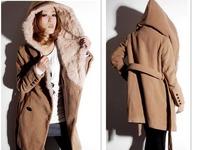 2014 Design New  Winter Trench Coat Women Khaki  Medium Long Coat  Warm Woolen Jacket European Fashion Overcoat  Women coat  ZMY