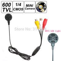 """NEW Mini 600TVL 1 / 4"""" HD Sensor 600 Mega Pixel Night Vision 8pcs LED light IR Camera Smallest Cone Pinhole Video Camera"""