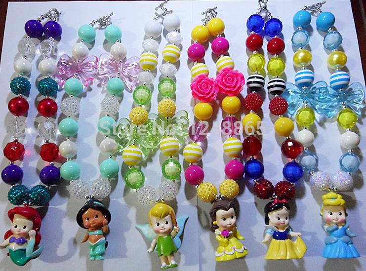 6style glisten fashion kids chunky bubblegum necklace cartoon character princess pendants baby girls charming necklace!!(China (Mainland))
