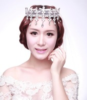 Luxury Handmade Crystal Wedding Tiara Lace Hair Jewelry Bridal Rhinestone Tiaras And Crowns Quinceanera Pageant Crown WIGO0331