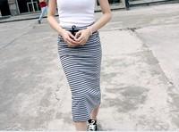 New 2014 Summer Fashion Skirts womens skirt  Hot Sales Back Split Sexy Stripe Cotton Women Skirts Girl Skirts Free Shipping