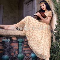 2014 hot sale woman's sweet countryside style summer rustic chiffon expansion bottom full dress print slim dress cheap online