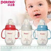 Small potatoes baby bottle with handle straw 110mm pp bottle baby bottle feeding 270ml,150ml