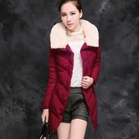 Slim down cotton-padded jacket female medium-long wadded jacket female winter outerwear cotton-padded jacket women's