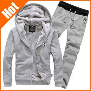 M-457 New 2014 Spring winter comfort single copper metal zipper design Men's Sport Suits Fleece sweater pants hoodies set.()