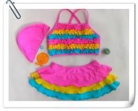 In Stock New Summer Hot 2-7Y girls swimsuit korea frozen fashion rompers/princess bikini two pieces kids swimwear