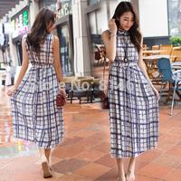 2014 new arrive woman's vintage plus size clothing plaid chiffon full dress halter-neck expansion bottom resort cheap online