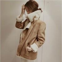 New 2014 women winter warm jacket coat Korea version berber suede with  fleece wadded jacket female thickening slim outerwear .