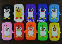 10pcs/lot New Cute Cartoon Silicone Soft Penguin Skin Cover Case for samsung i8190 Galaxy SIII S3 mini phone case