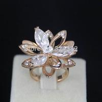 1pcs/lot New 18K Rose Gold Plated Metal lotus flower Ziron Ring For Women Free Shipping