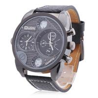 Men's Multi-Movement Black Round Dial PU Band Quartz Analog Wrist Watch (2 Time Zone)