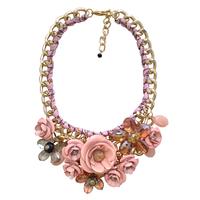 Fashion 2014 flowers vintage short necklace design yiwu accessories