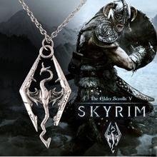 1 pc send Men necklace Popular dinosaur Skyrim the Elder scrolls dragon pendants necklaces personalized fashion
