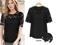 2015 Summer new Plus size S-XXL Hollow lace chiffon shirt short-sleeved Brand t shirt Women Tops tee
