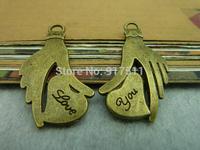 40pcs bronze love you palm alloy charms bracelet necklace pendant diy decoration cabochon steam punk jewelry accessories