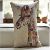 Vintage Cotton Linen Cushion Cover Pillow Case Home Decor Colorful Giraffe