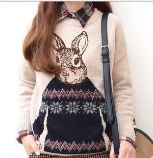 2014 Новое поступление Женщины Повседневная шею длинным рукавом трикотажные свитера Школа Стиль Mr.Rabbit печати пуловер свитер LD0723