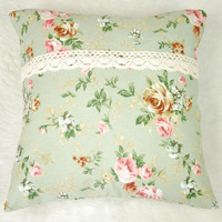 Vintage Country Style Light Green Floral Lace Canvas Cushion Covers 45mx45cm Home Decor - New