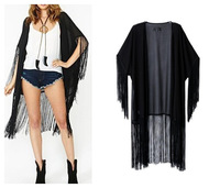 New Hot 201407 Women Spring/Summer Cardigan Black  Tassel Kimono  Rayon Temperament  Leisure Fashion  Shirt  Free Shiping