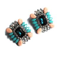 Fashion shourouk square blue crystal earring earrings