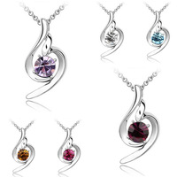 [Arinna Jewelry] Free Shipping Blue Crystal Pendant Necklaces for Women Austrian Crystal High Quality Christmas Jewelry