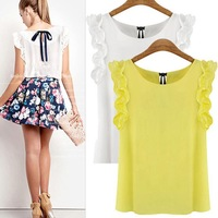 New 2014 fashion women's o-neck lotus leaf pullover lacing bow chiffon shirt op women's Chiffon blouse S-XL Free shipping