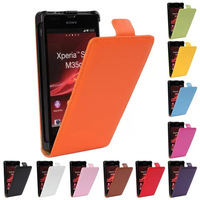 Fashion 11color Genuine leather Turn over to open up and down case For Sony Xperia SP M35H phone+Free Shipping
