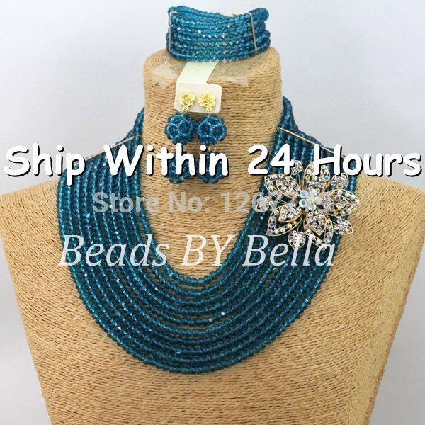2014 Wonderful Peacock Blue Nigerian Beads Jewelry Set Anniversary Gift Costume African Jewelry Set Free Shipping