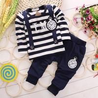Fall Toddler Baby Clothing Set Kids Casual Suit False Straps Stripe T Shirt + Pants Kids Boy Girl Set Small Children Sets GX769