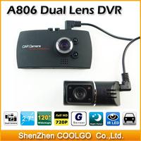 A806 D5 Dual lens Car DVR Camera HD 720P 30fps 120 Degree Angle lens With G-sensor Car Camcorder Black Box
