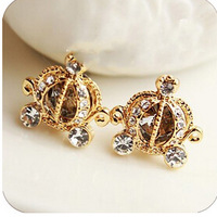Free Shipping  Delicate full rhinestone crystal pumpkin car stud earring earrings stud earring,Lovely elegant beautiful 6pcs/lot