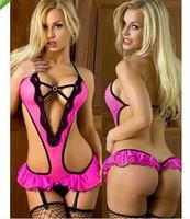 2014 Hot underwear babydoll women  Hot Pink Sexy lingerie lace dress+g string+garter sexy lingerie costume sex Lace Underwear