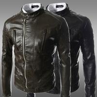 2014 Men's Sell like hot cakes! 2014 new fashion men's leather jacket men leather collar leather jacket winter coat  M-XXL ZPY22