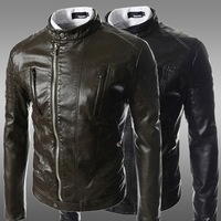 2014 Men's PU Leather Jacket Fashion Transverse Slim Fit Leather Jackets For Men Top Quality For Men M-XXL ZPY22