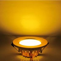 3 pcs/lot Free shipping 7W AC220-240V Warm White LED Panel Light/LED Ceiling Lamp/Down light LEDTD030 Golden shell