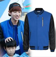 Free shipping Exo Youth pop hoodies sweatshirt baseball uniform PU stitching quilted stand collar coat S3007