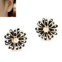 Korea Fashion Bohemia Flower Stud Earrings Women Enamel Earring