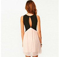 Europe and the United States hit color stitching back hollow deep V-neck sleeveless chiffon vest dress