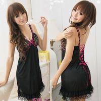 [SNY-S071] Free Size Ice Silk Fabrics Strap Nightwear, Sexy Lace Sleepwear Thongs Erotic Lingerie Suit + Free Shipping