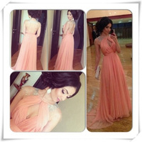 2014 New Arrival Pink C Prom Dresses Celebrity Dresses Long Evening Dress Floor Length Long Dress