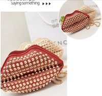 2014 new fashion paint rivet women's lips candy chain inclined shoulder bag