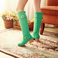 Women Fashion On Sale Spring and Autumn Boots Flock Buckle Large Size Solid Square Heel Slip On 4 Color W1LJWL9527