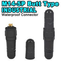 2014 New Durable Industrial Butt Type M14 5 Pin Waterproof Connector IP68 5Pin Electrical Wire Connector Adapter for PCB LED